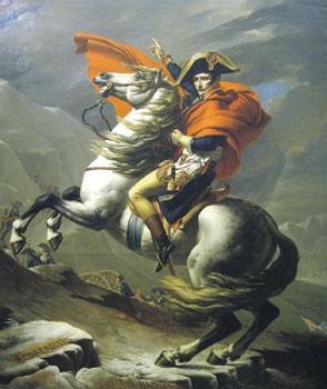 Наполеон вошел в историю как человек, способный брать на себя ответственность. Жак Луи Давид. Бонапарт на перевале Сен-Бернар. 1801. Мальмезон, Париж