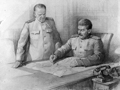 «Сталин и Жуков над картой боевых дествий». Рисунок П.Васильева